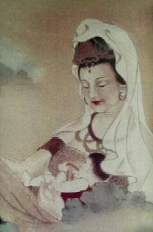 Modern målning föreställande den kvinnliga bodhisattvan Kannon. Likt jungfru Maria framställs hon ofta med ett barn i famnen.