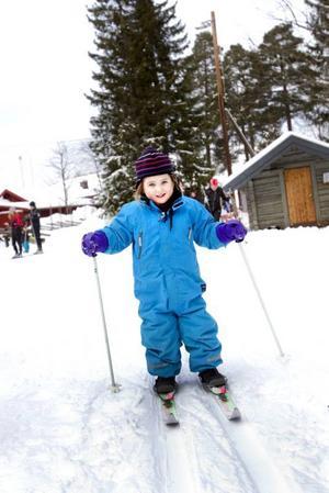 Premiär i längdspåret. Mollie Asplund, snart tre och ett halvt år, tog sina första stavtag i ett riktigt skidspår i går. Tidigare har hon bara åkt lite hemma på gatan.