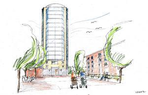 Behrn Fastigheters hyreshus ska bli 16 våningar högt och innehålla tvårummare och fyrarummare. BILD: Klara Arkitektbyrå AB