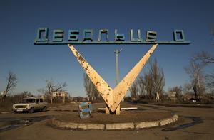 Debaltseve i Ukraina efter den ryska erövnringen i februari 2015.