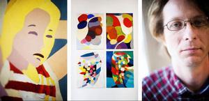 Lennart Samor till höger med bilder ur två av sina teman, en flicka inför sommarlovet till vänster och de vetenskapligt inspirerade bilderna på bananflugans luktorgan och förnimmelsen av lukterna  i hjärnan.                     Foto: Robert Henriksson