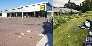 Lidl-butiken i Hofors har drabbats av vandalisering och nedskräpning.