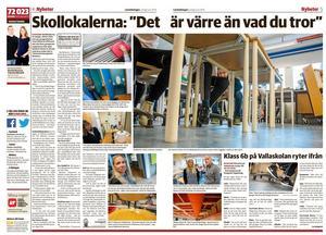 Uppslag ur LT : s uppmärksammade reportage om skolsituationen i Östersund. De första artiklarna publicerades 1 juni i år.