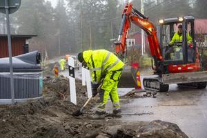 Företaget Stadsnätsbolaget har grävt för fiber i Vallvik. De har också kopplat in en del av de som sagt ja.