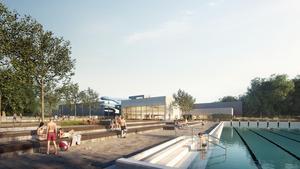 På fredag tas första spadtaget till nya badhuset och idrottshallen intill utebadet vid Krillan i Köping. Men det dröjer till hösten 2020 innan allt står färdigt och åksugna kan ta badringen ned för den 90 meter långa vattenrutschbanan. Illustration: Liljewall arkitekter