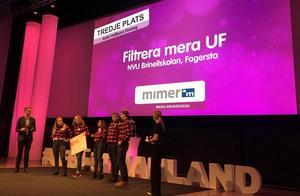 Filtrera Mera från Brinellskolan i Fagersta fick en tredje plats i kategorin årets hållbara företag på UF-mässan i Västerås 2018.