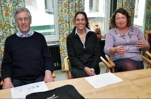 Åres nya kommunalråd: Lars Mämpel (M), Maria Kjellström (VV) och Eva Hellstrand (C). Hellstrand leder kommunstyrelsen de första två åren, sedan tar Mämpel över. Kjellström får ansvar för vissa områden.