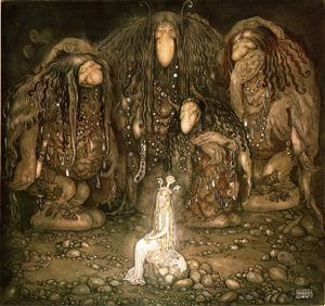Fyra troll har  hittat en prinsessa. Illustration av John Bauer från 1915.