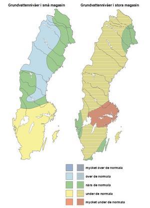 Grundvattennivåernas avvikelse i april månad.