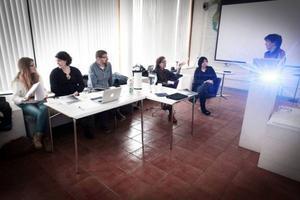Juryn bestod av, från vänster, Johanna Perhult, Elin Torestad, Lasse Pettersson, Ann-Louise Rönestål-Ek och Eva Aspling.