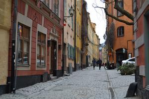 Foto: Eva Davidson   På upptäcktsfärd bland de vackra husen i Gamla stan i Stockholm, sista torsdagen i februari.