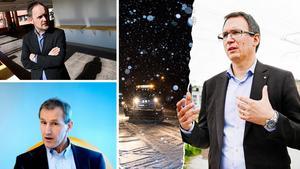 Kommunens ekonomi är illa ute varnar moderaten Jörgen Berglund (längst upp till vänster) och liberalen Stefan Falk (längst ner till vänster) efter en dyster prognos. Peder Björk (S) har en annan bild än sina politiska motståndare.