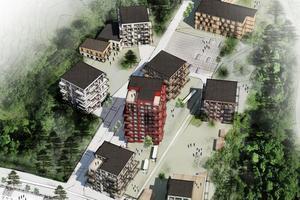 Skiss över Riksbyggens planerade hus vid före detta Stenkumlaskolan. Bild: Towatt arkitekter