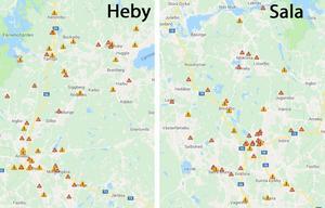 Här har flest viltolyckor skett i Heby och Sala i år, de orangea varningstrianglarna representerar flera olyckor.Karta: NVR