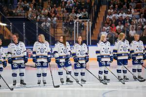 Leksands damlag presenterades inför den publiken i Tegera Arena.