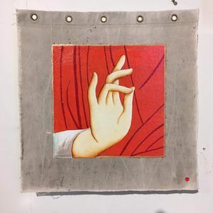 Klassisk handpose inom ikonmåleriet. Målning av Mats Hermansson.