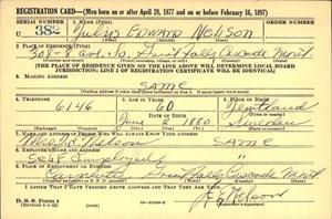 Ett av fynden var ett D.S.S Form 1 (registreringskort för amerikanska armén).  Edward Julius Nelson var min mormors farbror.