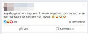 På Facebook har Felizias ridtur till Burger king skapat reaktioner. Bild: Klipp från Facebook