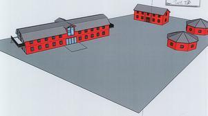 Så här har Tomas Berntsson tänkt att satsningen skulle kunna se ut. Men exakt hur byggnaderna ska utformas blir en fråga först när ett eventuellt bygglov lämnas in. Illustration: Tomas Berntsson Holding AB
