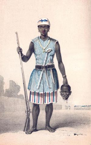 """Den fruktade Seh-Dong-Hong-Beh (""""Gud talar sanning"""") var befälhavare för Dahomeys amasoner på 1850-talet. Illustration av Frederick Edwyn Forbes från 1851."""
