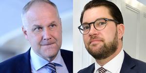 Vänsterpartiets partiledare Jonas Sjöstedt och Sverigedemokraternas dito Jimmie Åkesson. Foto: Stina Stjernkvist/TT och Henrik Montgomery/TT