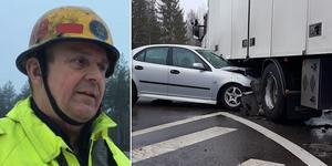 Föraren av bilen kunde ta sig ut själv enligt insatsledare Roger Boberg. Bilden är ett montage.