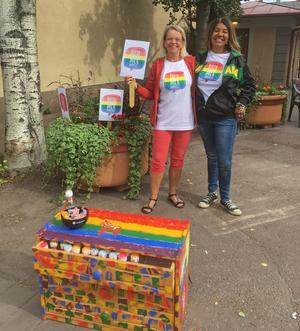 Fr v Eva Elwing och Carina Storgärds Rashford engagerar sig i Rättvik för att vi ska #röstamermänskligt. Foto: Anders Åkerlund.