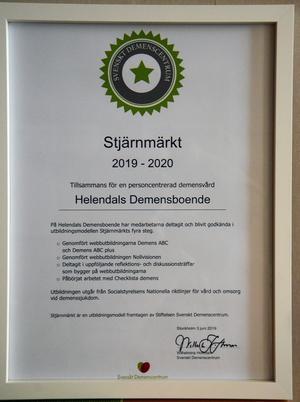 Diplomet som visar att Helenedal är stjärnmärkt inom demensvård.