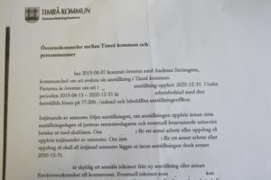 Överenskommelsen mellan Timrå kommun och Ingeborg Melin om att hon ska få 16 månadslöner.