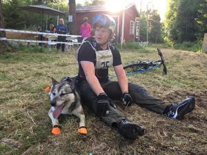 Juhani Ahokas Löfgren från arrangörsklubben Lag 42 Team Sollefteå pustar ut med sin Siberian Husky Styxx efter sitt race i Resele.
