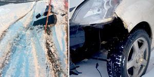 Mopedbilen körde sönder två brevlådor. Bild: Polisens utredning