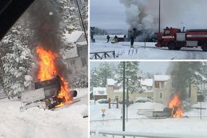 Larmet om lastbilsbranden inkom till SOS Alarm vid klockan 11.33 på torsdagsförmiddagen.Foto: Läsarbilder
