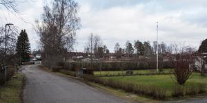 De hus som ska byggas mot Dammstugevägen blir två våningar höga, men kan få en etagevåning på en tredjedel av huset. Gammeltorps förskola skymtar i bakgrunden.