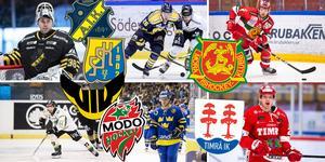 Johannes Jönsson stannar i AIK, Christopher Bengtsson hade synpunkter på hockeyförbundets förslag, Viktor Amnér stannar i Mora, Kelsey Tessier skrev på för VIK, Tobias Viklund är aktuell för Modo och Morten Madsen stannar i Timrå. Foton: Bildbyrån