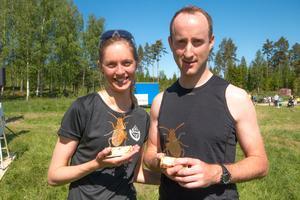 Paret Linnea Gustafsson och Ewan McCarthy var nöjda med sina vinster och hoppas att det blir fler lopp i framtiden.