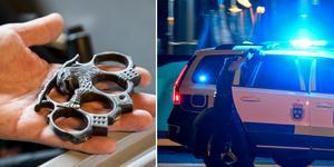 Bilderna illustrerar ett knogjärn och en polisbil. De är tagna vid andra tillfällen och har ingenting med händelsen i Avesta att göra.