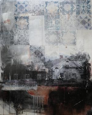 Maria Lund ställer ut konst i blandteknik på Galleri Nord.