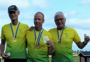 SM Precision 2019, lagguldet till Fallskärm Gefle, fr v Peter Bendt, Magnus Falk och Jonas Wallberg, foto Lennart Vestbom