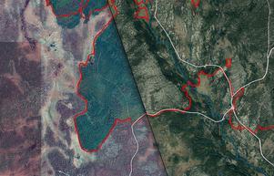 Fotomontage (foton: Lantmäteriet). Här kan man tydligt se IR-teknikens styrka. Det är samma fotodatum, men den vänstra delen är en IR-bild där det gröna är bränd mark och den högra en vanlig färgbild. Foto är från den sydvästra delen av brandområdet.