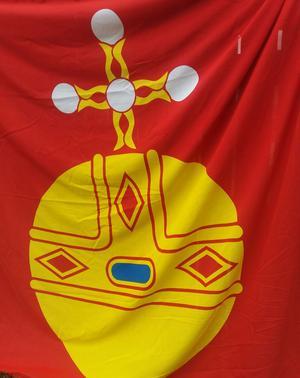 Upplandsflaggan med den urgamla symbolen hissades vid Upplandsledens 40-årsjubileum.