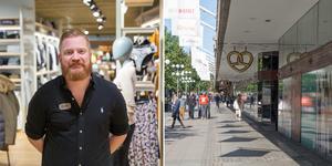 """""""Det är välkommet"""", säger Johan Englund, butikschef på Johnells, om att förlänga öppettiderna i centrum på helgerna nästa år."""
