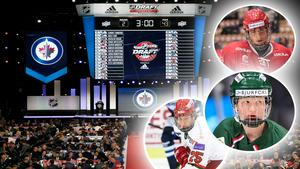 Jacob Olofsson, Rasmus Dahlin och Lukas Wernblom är tre av de som väntas gå högt i NHL-draften. Bild: TT/Bildbyrån, Montage.