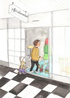 Plumpen, Bosse, Dumpen och Topsy  beger sig till skattekontoret på Stora Gatan i jakt på  spöket Lasse-Majas skatt. Illustration av Inger Koleff.