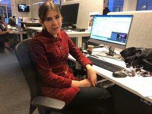 Wilma Eliasson från Edsbyn arbetar med TV4:s nya program Efter fem.