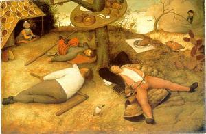 I folksagans drömrike Schlaraffenland är det lättjan som råder. Målning av Pieter Bruegel från 1567.