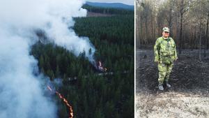 Hemvärnssoldat Solange Nordh ingår i kringorganisationen när skogbränderna bekämpas.