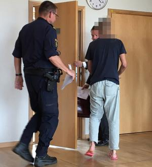20-åringen i samband med häktesförhandlingen i höstas. Foto: Torbjörn Granström