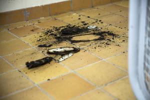 Utbrunnet papper som utlöste brandlarmet på tisdagen.