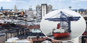 Containerkranarna är lika höga som några av de här byggnaderna; närmast syns Skatteskrapan,  sedan Söder torn, Stadshuset, Norra tornen och Kista Tower. Foto: Tomas Oneborg/TT, och Stockholms hamnar (infällda bilden)
