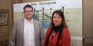 Kommunalråd Anders Wigelsbo (C) och Jennie Hesslöw, vd för Sala Silvergruva AB.